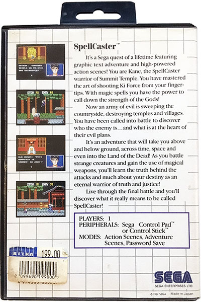 Spellcaster Sega Master System (bagside)